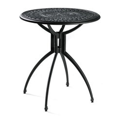 Baswick Aluminum Outdoor Bistro Table - This traditional cast aluminum table has a contemporary flair with the design of the legs. It comes in two sizes so it can be a great side table or dining table for two.