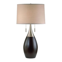 Nova Lighting - Nova Lighting Pure Modern / Contemporary Table Lamp X-238 - From the Pure Collection, this Nova Lighting contemporary table lamp starts with a classic tan linen drum shade that gives way to a beautifully curvilinear body. The body features a silver finish at the neck, which gives way to a dark and elegant Dark Brown finish.