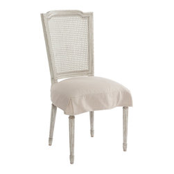 Kathy Kuo Home - Pair French Country Antique White Slip Cover Dining Chair - Constructed from Birch each frame is carved and then hand painted in our Antique White which is a blend of whites and cream hues. Seat cushion has hand tied springs which delivers a firmer seat lasting much longer than your basic stuffing.