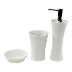 Gedy - Bathroom Accessory Set, 3 Pieces, In Multiple Finishes, - Gorgeous bathroom accessory set made from stone with white or transparent finish. Set includes toothbrush holder, soap dish, and soap dispenser. Designed in Italy. From the Gedy Flaca collection. Includes toothbrush holder, soap dish, and soap dispenser. Available in white and transparent finish. Made from stone. From the Gedy Flaca collection. Designed and built in Italy. Included in set:. Soap dish Gedy AU11. Toothbrush holder Gedy AU98. Soap dispenser Gedy AU80.