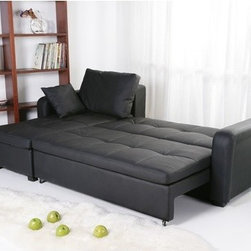 """Gold Sparrow - Charlotte Sleeper Sectional - Multi-functional contemporary sectional adds comfort and style to your living room. European style with sleek design inspires a fresh look for your home. Features: -Durable tropical solid wood frame.-Sectional converts into bed position within seconds.-Sectional designed with maximum comfort in mind.-Mattress included.-Upholstered in premium vinyl leatherette with detailed stitching.-Distressed: No.-Product Type: Convertible Sectional.-Frame Material: Wood.-Upholstery Material: Leather.-Sleeper Mechanism Type: Pull-Out.-Coils or Springs: No.-Removable Seat Cushions: No.-Removable Back Cushions: Yes.-Removable Cushion Cover: No.-Reversible Cushions: No.-Tufted Cushions: No.-Nailhead Trim: No.-Console: No.-Adjustable Headrest: No.-TV Headrest: No.-Cupholders: No.-Toss Pillows Included: Yes -Number of Toss Pillows Included: 2.-Toss Pillow Upholstery Material: Leather..-Legs Included : Yes -Removable Legs : Yes.-Leg Glides : No..-Slipcovered: No.-Storage: Yes.-Seating Comfort: Firm.-Outdoor Use: No.-Swatch Available: No.-Product Care: Wipe clean with a dry cloth. Gentle leather cleaner may be used..Dimensions: -Overall Product Weight: 187 lbs.-Overall Height - Top to Bottom: 27.14"""".-Overall Width - Side to Side: 92.12"""".-Overall Depth - Front to Back: 35.04"""".-Fully Reclined Depth - Front to Back: 78.74"""".-Arms: Yes.-Legs: Yes.-Seat Cushion : Yes.-Back Cushion : Yes.-Storage Space : Yes.-Toss Pillows: Yes.Assembly: -Assembly Required: Yes.-Tools Needed: Included Allen key.-Additional Parts Required: No.Warranty: -Product Warranty: Defective parts may be replaced within a reasonable amount of time if available.."""