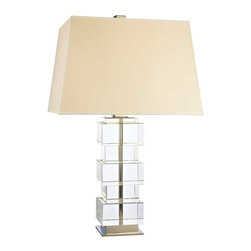 Hudson Valley Lighting - Hudson Valley Brookfield D-1 Light Large Table Lamp in Polished Nickel - Hudson Valley Lighting's Brookfield's D-1 Light Large Table Lamp shown in Polished Nickel. Iconic metropolitan design took shape in the 20th century buildings of Le Corbusier and Mies van der Rohe. Brookfield embodies the straightforward beauty of these architectural innovations. By setting solid crystal in high-rise blocks, we glamorize cubism's stark sensibilities.