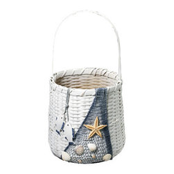 "Nautical Basket w/ Netting & Shells - The nautical basket w/ netting  shells measures 14"" x 8.5"". The basket is white in color. It features netting displayed on the side of the basket along with shells, a starfish  wooden fish. It will add a definite nautical touch to wherever it is placed and is a must have for those who appreciate high quality nautical decor."