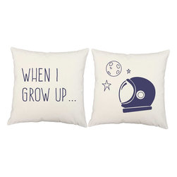 RoomCraft - Astronaut Throw Pillow Covers 16x16 White Cotton Shams - FEATURES: