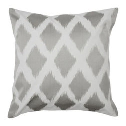 "Z Gallerie - Diamond Ikat Pillow 24"" - Z Gallerie's exclusive Diamond Ikat Pillow creates a stunning sophisticated look in subtle neutral grey. The pillow is made of pure cotton with an elegant sheen for a dressier appearance, and the diamond pattern is embroidered on the front in grey on white to mimic a tribal Ikat textile technique."