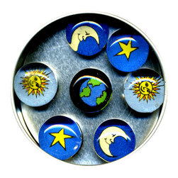 "Celestial Glass Gem Magnet Set - Handmade in our studio, our Celestial magnets started with tiny paintings of the star, moon, earth and sun which were then reproduced. We use super strong ceramic magnets, so they're not only cute, they're functional. (Unlike those magnets that fall off when you close the refrigerator door!) Each magnet is about 3/4 inch wide, the tin is 2.75"" wide. Set of 7 in a tin. Made in the USA."