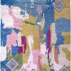 """Individual - A 9' x 12' Abstract Moroccan Area Rug With Multi Color Combination - We re so proud that we are able to offer the best variety of authentic hand knotted area rugs from all over the world.. We are a supplier and we always have teh mist up to date merchandise, because we do get shipment almost every month. Now the onethat I am offering here is one of our most acquisition with Moroccan pattern in multi color combination on top of an abstract pattern. It is made of best wool quality on cotton foundation, measures 8'-11"""" x 11'-8"""". Best of all I am offering this beauty at trade value, which is a dealer to dealer price of $3,299.00."""