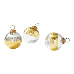 Plated Glass Ornaments, Gold - Serena & Lily takes the classic glass ornament and kicks it up a notch with some serious gold. These stunning pieces will be favorites in your holiday rotation for years to come.