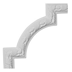 "Ekena Millwork - 12 3/4""W x 12 3/4""H Milton Running Leaf Panel Moulding Corner - Our beautiful panel moulding and corners add a decorative, historic, feel to walls, ceilings, and furniture pieces.  They are made from a high density urethane which gives each piece the unique details that mimic that of traditional plaster and wood designs, but at a fraction of the weight.  This means a simple and easy installation for you.  The best part is you can make your own shapes and sizes by simply cutting the moulding piece down to size, and then butting them up to the decorative corners.  These are also commonly used for an inexpensive wainscot look."