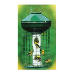 """Audubon/Woodlink - Avian Series Mixed Bird Feeder in Green - Features: -Avian series mixed bird feeder. -Color: Green. -Stainless steel, aluminum, vinyl tube, lexan seed ports. -Metal roof and base, 0.25"""" thick vinyl tube. -Hanging bird feeder without wire cage. -E-Z clean snap out base for easy filling. -No tools required. -Holds 12 quarts nyjer seed. -Lifetime warranty against squirrel damage. -Weight: 8 lbs."""