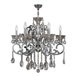 """Worldwide Lighting - Kronos 6 Light Chrome Finish and Clear Crystal Chandelier 26"""" x 24"""" Large - This stunning 6-light Crystal Chandelier only uses the best quality material and workmanship ensuring a beautiful heirloom quality piece. Featuring a radiant Chrome finish and finely cut premium grade clear crystals with a lead content of 30%, this elegant chandelier will give any room sparkle and glamour. Worldwide Lighting Corporation is a privately owned manufacturer of high quality crystal chandeliers, pendants, surface mounts, sconces and custom decorative lighting products for the residential, hospitality and commercial building markets. Our high quality crystals meet all standards of perfection, possessing lead oxide of 30% that is above industry standards and can be seen in prestigious homes, hotels, restaurants, casinos, and churches across the country. Our mission is to enhance your lighting needs with exceptional quality fixtures at a reasonable price."""
