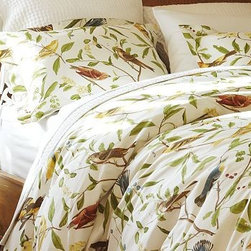 Spring Sparrow Duvet Cover, Twin - We translated the detailed illustrations of 19th-century field guides into a pigment-printed pattern full of life and color. Pure cotton percale. Plate numbers in graceful script recall the original ornithology books that inspired this design. Several species of sparrow, each on a different type of branch, create spring color. Duvet cover has a hidden button closure and interior ties to keep the duvet in place. Sham has an envelope closure; insert sold separately. Machine wash. Catalog / Internet only. Imported.