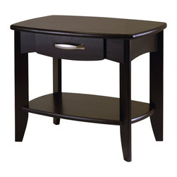 Winsome - Winsome Danica End Table in Dark Espresso Finish - Winsome - End Tables - 92824 - The Danica Collection has clean yet traditional lines. The curved drawers is a perfect place to keep clutter out of sight. An open lower shelf gives you more space.