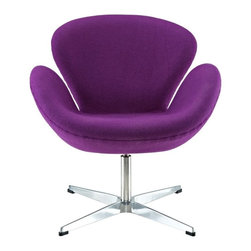 Modern Purple Fabric swivel Lounge Chair inspired by The Swan design - This Modern Purple Fabric swivel Lounge Chair was inspired by the famous mid-century design of the Swan chair. This swivel chair has an well-known attractive style and is very comfortable to lounge in. It will work great with other mid-century inspired pieces in your home interior. The lounge chair has a steel frame upholstered with high quality purple wool fabric. It features deep seating and ergonomic armrests for comfort along with a swivel base for flexibility.