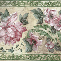 York Wallcoverings - Green Pink Roses Flower Floral Wallpaper Border - Wallpaper borders bring color, character and detail to a room with exciting new look for your walls - easier and quicker then ever.