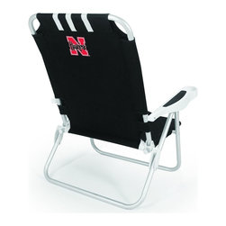 "Picnic Time - University of Nebraska Monaco Beach Chair Black - The Monaco Beach Chair is the lightweight, portable chair that provides comfortable seating on the go. It features a 34"" reclining seat back with a 19.5"" seat, and sits 11"" off the ground. Made of durable polyester on an aluminum frame, the Monaco Beach Chair features six chair back positions and an integrated cup holder in the armrest. Convenient backpack straps free your hands so you can carry other items to your destination. Rest and relaxation come easy in the Monaco Beach Chair!; College Name: University of Nebraska; Mascot: Cornhuskers; Decoration: Digital Print"