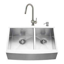 """VIGO Industries - VIGO All in One 33-inch Farmhouse Stainless Steel Double Bowl Kitchen Sink and F - Create an inviting new look in your kitchen with a VIGO All in One Kitchen Set featuring a 33"""" Farmhouse - Apron Front sink, faucet, soap dispenser, two matching bottom grids and two strainers."""