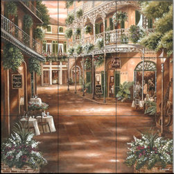 The Tile Mural Store (USA) - Tile Mural - Jazz Cafe  - Kitchen Backsplash Ideas - This beautiful artwork by Betsy Brown has been digitally reproduced for tiles and depicts a beautiful street scene with lush foliage.    This street scene tile mural would be perfect as part of your kitchen backsplash tile project or your tub and shower surround bathroom tile project. Street scenes images on tiles add a unique element to your tiling project and are a great kitchen backsplash idea. Use a street scene tile mural, perhaps a Tuscan theme tile mural, for a wall tile project in any room in your home where you want to add interesting wall tile.