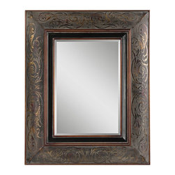 "Uttermost - Traditional Uttermost Rola 42 1/2"" High Rectagular Wall Mirror - The ornate frame of the Rola mirror features a rustic bronze finish with copper undertones mahogany highlights and black details. Center mirror pane is nicely beveled. Design by Uttermost. Please note that this mirror ships for free but because of its size and weight it may require freight curbside delivery. Rustic bronze finish. MDF and cloth frame. Mirror glass only is 27"" high 19"" wide. 42 1/2"" high 34 1/2"" wide. Extends 2 3/4"" from the wall. Hang weight of 25 lbs.  Rustic bronze finish.   MDF and cloth frame.   Mirror glass only is 27"" high 19"" wide.   42 1/2"" high 34 1/2"" wide.   Extends 2 3/4"" from the wall.   Hang weight of 25 lbs."