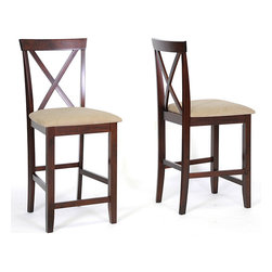 Baxton Studio - Natalie Counter Height Stools (Set of 2) - This set of two cappuccino-finished counter-height stools will see you ready for every occasion. Upholstered in soft foam and fabric to provide ultimate comfort, these classic stools are made of durable rubber wood for long-lasting style.