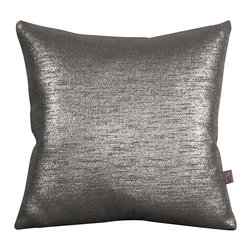 """Howard Elliott - Glam Zinc 20"""" x 20"""" Pillows - Pillows are made to order. Change up color themes or add pop to a simple sofa or bedding display by piling up the pillows in a multitude of colors, textures and patterns. This Glam Pillow features a linen-like texture in a soothing graphite color with a metallic finish. Glam Zinc, a linen-like texture in a soothing graphite color with a metallic finish. 20 in. x 20 in."""