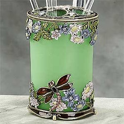 Artico - Classic Dragonfly w/ Floral Decoration Cosmetic Brush Holder Container - This gorgeous Classic Dragonfly w/ Floral Decoration Cosmetic Brush Holder Container has the finest details and highest quality you will find anywhere! Classic Dragonfly w/ Floral Decoration Cosmetic Brush Holder Container is truly remarkable.