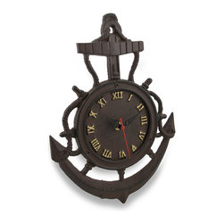 Zeckos - Cast Iron Ship Anchor Wall Clock Rustic Finish - It's time to freshen up your nautical decor and hang this rustic finish clock on the wall Made from cast iron, it features a 5.5 inch diameter face with roman numeral markers and ornate hands, and is in the shape of a ship's rope and anchor. This 12.25 inch (31 cm) high, 8.75 inch (22 cm) wide, 1.75 inch (4 cm) deep clock easily hangs with a single nail or wall hook using the attached hanger on the back. It features a quartz movement clock requiring 1 AA battery (not included). It would look amazing hanging in any room in your home, office, restaurant or shop, and makes a great gift for fans of nautical decor