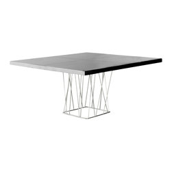 Modloft - Clarges Dining Table, Black Lacquer - A functional work of art, the Clarges Dining Table makes any meal an inspiring event. The practical yet appealing square shape merges with a lacquered hardwood surface to ensure that this table will hold up to everything from morning coffee to dinner parties to your favorite midnight snack. Wiry stainless steel tubing legs and tabletop grooves offer artistic appeal. Seats 8 guests. Available in black or white lacquer table top. Imported.
