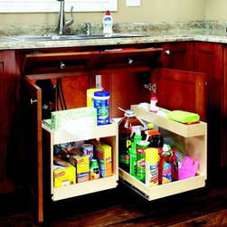 Pull Out Shelves with Risers - Add a riser shelf to your pull out shelves for an extra level of storage.  Risers can be attached horizontally, as seen with the lefthand shelf, or vertically, as seen with the righthand shelf.  Our risers are designed to fit around the plumbing that sits beneath your kitchen bathroom sinks.