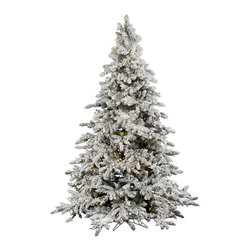 """Vickerman - Flocked Utica 250WmWht (4.5' X 41"""") - 4.5' Flocked Utica Fir Tree 492 PVC tips 250 LED Warm White Mini Lights with on/off switch step. metal stand Utilizes energy-effiecent, durable LED technology."""