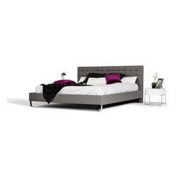 Vig Furniture - Modrest Gemma Modern Gray Leatherette Bed, King Size Bed - Modern Style Platform  Bed
