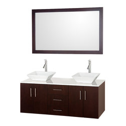 Wyndham Collection - Arrano Bathroom Vanity in Espresso, White Stone Top, White Porcelain Sinks - The Arrano Double Vanity Set features compact design in a double vanity with plenty of storage, blending simple lines and clean design with modern elements like vessel sinks and brushed chrome hardware, resulting in a modern yet timeless piece of bathroom furniture.