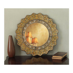 Hand-Painted Marigold Mirror - A pretty mirror will fit right in in so many spaces in the home. This one would work in a small powder bath or over a dresser. Who says mirrors have to be plain?