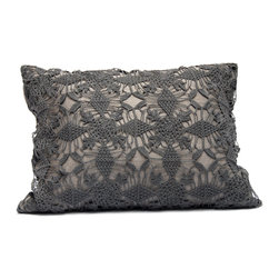 "Area - Violet Pillow in Shadow - Area - Pure linen decorative pillows with beautiful hand-crochet detail. 16"" x 21"" with feather-down insert."