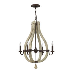 Frederick Ramond - Fredrick Ramond Middlefield 4-Light Chandelier - Middlefield's rustic chic design captures a historical feel with its solid distressed wood and steel construction. A pear-shaped wood finial adds an additional elegant detail and may be hung inside or outside the frame.