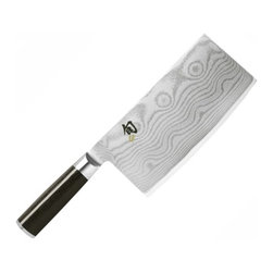 """Shun - Shun Classic 7"""" Vegetable Cleaver - Description: Shun Classic: Vegetable Cleaver 7 3/4"""" - DM0712    This stunningly beautiful line of classic cutlery features the look and benefits of Damascus steel, yet without its rusting problems. The Damascus-look blade profile reduces sticking and results in less damage to the food being cut and faster prep times. - VG-10 stainless steel is clad with 16 layers of SUS410 high-carbon steel on each side, producing a 33-layer rust-free Damascus look"""
