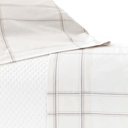 Pine Cone Hill - PCH Tattersall Gray Sheet Set - The Tattersail sheet set modernizes timeless plaid with hairline stripes and a neutral colorway. This soft and comfortable accent by PCH dresses the bed with casual sophistication. Available in twin, full, queen and king; Includes 1 flat and 1 fitted sheet; 100% cotton, 200-thread count; Gray and ivory; Designed by Pine Cone Hill, an Annie Selke company; Machine wash
