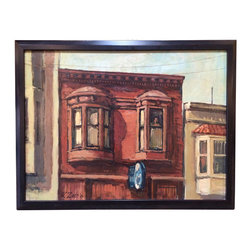 """Art - Oil painting of a brownstone with a voyeuristic inhabitant. Signed in the lower right corner, """"W. Zint '67."""" Wade Zint was an American artist alive from 1910-1990. - See more at: http://www.galeriesommerlath.com/inventory/oil-painting-wade-zint/#sthash.eJdPWP0z.dpuf"""