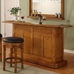 Nova Oak Bar - The Nova Oak Bar is sure to be the center of attention at your next gathering -- even if you invite the most radiant personalities. A conversation starter in itself, this home bar features a burnished oak finish and panel design that's sure to be an instant hit in your home space. Plus, both the bar surface and working surface are made of easy-to-clean laminate, and there's even a stainless steel dry sink.And that's not all -- this home bar is practically brimming with the best possible storage for your spirits collection. The two drawers are lined in felt, and the three cabinets have locking doors for extra safety. A wine rack to the left offers a bounty of bottle storage, too. Want the complete look? You can pair this home bar with other pieces in the Nova home bar collection.About ECI FurnitureAn acronym for East Coast Innovations, ECI Furniture is a Philadelphia-based distributor and importer for many top furniture companies. Counting customer satisfaction and fashion-forward design among their top goals, ECI specializes in game room, dining room, and home entertainment center designs. Their 100,000-square foot warehouse ships some of the industry's top-selling and most-loved products to retailers across the country. From design to fulfillment, ECI prides itself on its commitment to excellence.Please note this product does not ship to Pennsylvania.