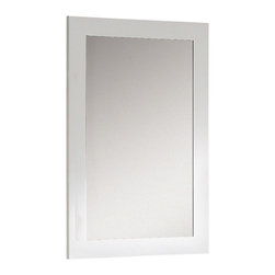 """Fine Fixtures - Fine Fixtures Ironwood 24"""" White Mirror, White Matte, 24"""" - Whether you have an open-floor design or need to make the most of a dynamic layout, Ironwood offers you a full lineup of three convenient sizes. Available in 24', 30' and 36', it features a look that touches on modern designs while retaining overlapping cues that help it match into a traditional bathroom as well. Regardless of the design era you are channeling, you'll appreciate the solid plywood construction and durable finishes. - You'll be enticed to grab the thin polished chrome handles that match the polished chrome strips. That's when you'll notice that the top drawer is in fact a pretty panel covering the fitted sink. The other two drawers offer lots of space, and a truly beautiful striped Zebra veneer makes Ironwood stand out in any setting. It's also available is a White color that's finished in matte lacquer. Both choices come with matching wood-trimmed mirrors, and are available with thicker or super slim grade AAA vitreous china sinks."""
