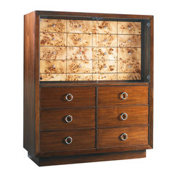 Lexington - Lexington Mirage Brando Gentleman's Chest 458-329 - The 6 drawer base supports the stunning convergence of Mappa Burl drawers and custom polished silver knobs, enhanced further with glass doors and lighting. The lower row of Mappa Burl drawers are two felt-lined jewelry trays.