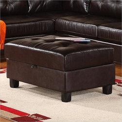 Global Furniture - Leather Storage Ottoman in Espresso - U5190-STORAGE OTT-ESPRE - Contemporary 2 Piece Sectional Sofa by Global Furniture USA