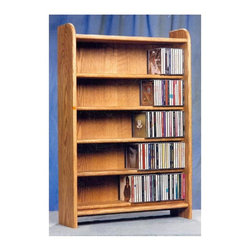 Wood Shed - 5 Shelf CD Storage (Unfinished) - Finish: UnfinishedCapacity: 330 CD's. Made from solid oak. Honey oak finish. 24.25 in. W x 7.25 in. D x 36 in. H