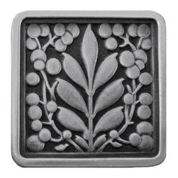 """Inviting Home - Mountain Ash (antique pewter) - Hand-cast Mountain Ash Knob in antique pewter finish; 1-3/8""""W x 1-3/8""""H Product Specification: Made in the USA. Fine-art foundry hand-pours and hand finished hardware knobs and pulls using Old World methods. Lifetime guaranteed against flaws in craftsmanship. Exceptional clarity of details and depth of relief. All knobs and pulls are hand cast from solid fine pewter or solid bronze. The term antique refers to special methods of treating metal so there is contrast between relief and recessed areas. Knobs and Pulls are lacquered to protect the finish. Alternate finishes are available. Detailed Description: The Mountain Ash knobs have a great symmetrical balance to it. These pulls will bring structure and familiarity to your cabinets. Its design will not go out of style even though it is a pull that makes a very forward statement. The Mountain Ash knobs are designed for use in combination with Mountain Ash pulls."""