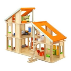 Chalet Dollhouse - Beautiful Chalet Dollhouse with furniture! This dollhouse is made up of 2 units which can be arranged together in various ways creating a larger play area. The larger unit features 3 spacious levels, and the smaller unit features 2 levels. This magnificent dollhouse has a huge skylight roofing and comes with 2 movable staircases. Is has been designed to be accessible from every side. This set includes a full set of furniture and accessories. For ages 3 to 7.