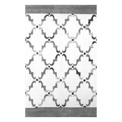nuLOOM - nuLOOM Hand Kontted Elegance Cotton Grey Rug, Grey, (7.6' X 9.6') - Material: 60% Wool, 40% Cotton