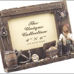 """Pirate Picture Frame - The pirate picture frame fits a 4"""" x 6"""" picture. It features a pirate, pulley, anchor, skull  treasure chest. It will add a definite nautical touch to whatever room it is placed in and is a must have for those who appreciate high quality nautical decor. It makes a great gift, impressive decoration and will be admired by all those who love the sea."""