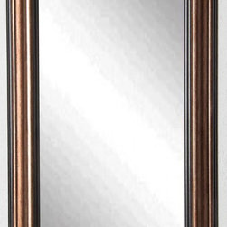Rayne Mirrors - American Made Canyon Bronze Full Length Mirror - Crown your wall decor with this confident black and copper tall body mirror design.  The wood frame is finished in warm copper accents with raised levels to it's profile creating a distinctive look that will enhance your room's style.   Rayne's American Made standard of quality includes; metal reinforced frame corner  support, both vertical and horizontal hanging hardware installed and a manufacturers warranty.
