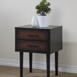 None - Preston 2-drawer Cherry/ Black Nightstand - Redecorate your favorite space with this functional,Preston nightstand. This nightstand features a rich black and cherry finish,a durable rubberwood construction and a two-drawer design.