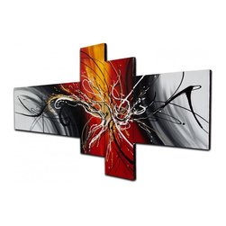 "Fabuart - ""Dancing Fire"" - Contemporary Modern Abstract Art - 66 x 32in - This beautiful Art is 100% hand-painted on canvas by one of our professional artists. Our experienced artists start with a blank canvas and paint each and every brushstroke by hand."